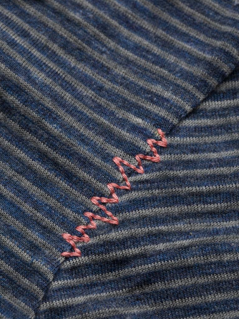 FANCY LITTLE DOT-INDIGO BLUE STRIPES WASHED-36-dámské-tričko-modré indigo